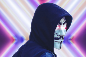 Anonymus Face Mask Looking Back 4k Wallpaper