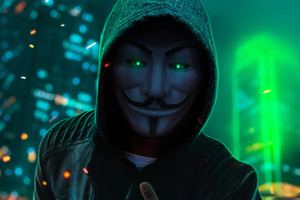 Anonymus Guy Glowing Eyes Green Neon 4k