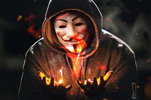 Anonymus Guy With Flame In Hand 4k Wallpaper
