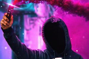 Anonymus Hoodie With Colorful Smoke Bomb 4k