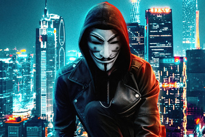 Anonymus Mask Boy Rooftop Buildings 5k Wallpaper