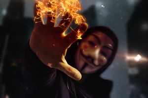 Anonymus Mask Guy With Flame In Hand 4k Wallpaper