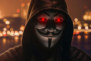 Anonymus Mask Red Badge 4k Wallpaper