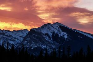 Another Firey Sunrise In The Canadian Rockies Wallpaper