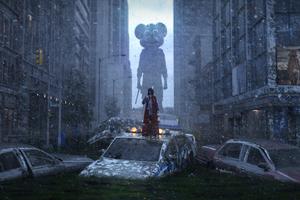 Apocalypse City Girl Monster 4k Wallpaper