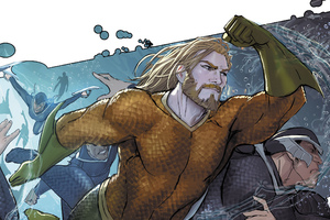 Aquaman Underwater Punching On Man Face Artwork