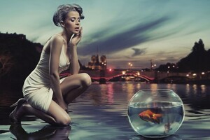 Aquarium Near Sea Shore Girl Creative Art Wallpaper