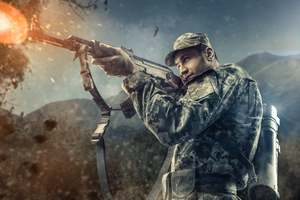 Army Man With Gun 8k