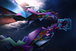 Artistic 3d Shapes 4k Abstract