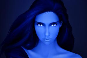 Artistic Blue Girl Wallpaper