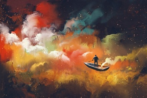 Artistic Cloud Boat Outer Space Floating 4k