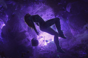 Artistic Girl Purple Space Space Suit