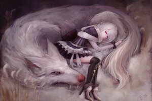 Artistic Girl With Wolf 5k Wallpaper