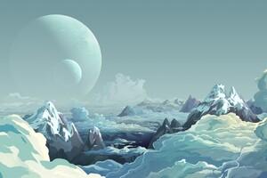 Artwork Illustration Mountains Sky Digital Art