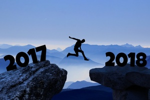 Artwork Of 2017 Year Man Jumping Into 2018 Wallpaper