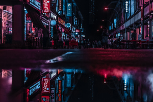 Asia Neon City Lights Reflections
