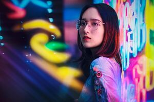 Asian Girl Neon Signs 4k