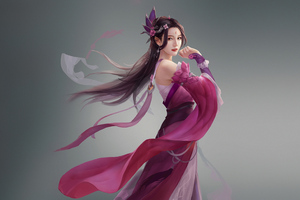 Asian Girl Rose Dress 4k