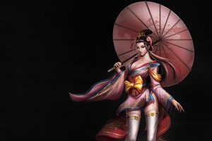 Asian Girl Umbrella Fantasy Art 4k Wallpaper