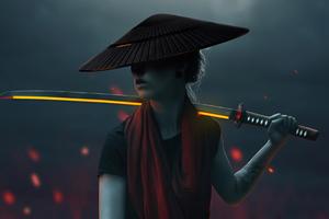 Asian Girl With Lava Sword Wallpaper