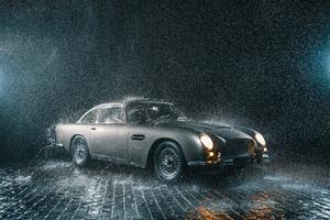 Aston Martin Db5 In Rain 5k Wallpaper