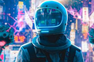 Astronaut Alone In Neon City 4k Wallpaper