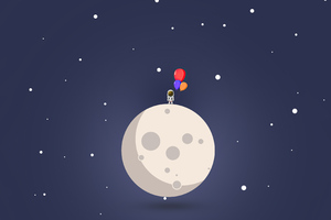 Astronaut Balloon Moon Minimal 4k Wallpaper