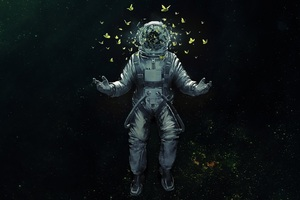 Astronaut Broken Glass Butterfly Space Suit