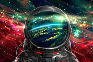 Astronaut Colorful Galaxy 4k Wallpaper