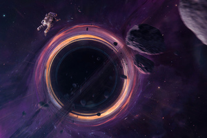 Astronaut Entering Black Hole 4k Wallpaper