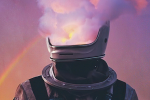 Astronaut Face Smoke Helmet 4k Wallpaper