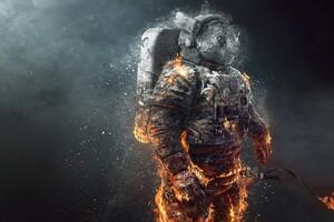 Astronaut Fire Scifi