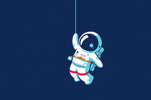 Astronaut Hanging On Moon 4k