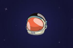 Astronaut Helmet Minimal 4k Wallpaper