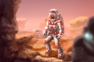 Astronaut In Mars Wallpaper