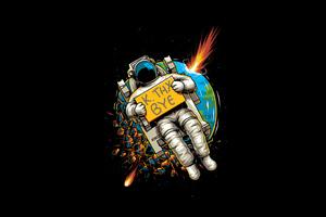 Astronaut Okae Bye 4k Wallpaper