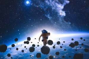 Astronaut Running In Space 4k