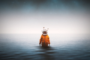 Astronaut Standing Inside Ocean Butterflies Around Helmet 4k Wallpaper