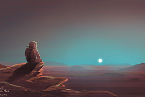 Astronaut Watching Sunset On Mars
