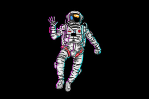 Astronaut Waving Hand Minimal 4k