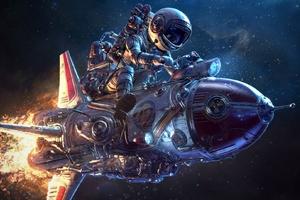 Astronaut With Mini Rocket