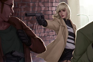 Atomic Blonde Girl With Gun Art