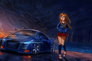 Audi Girl Comic Art Wallpaper