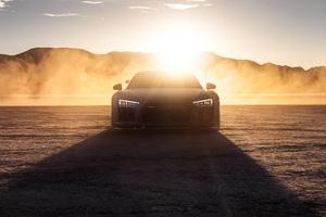 Audi R8 Dry Lake Desert 4k