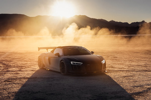 Audi R8 On The Vegas Dry Lake Bed 4k