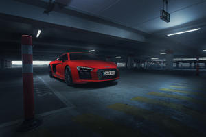 Audi R8 V10 Plus In Parking 4k Wallpaper