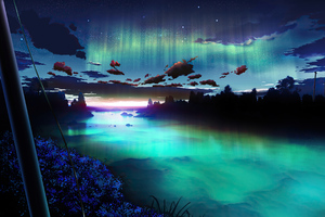 Auroa Emerald Green Sky 4k
