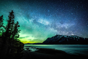 Aurora And The Milky Way Abraham Lake 8k