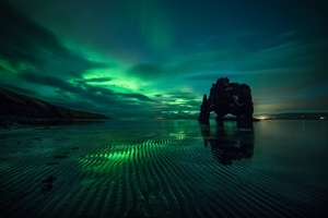 Aurora Borealis Green Reflection