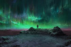Aurora Man Standing Landscape Wallpaper